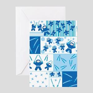 Blue Ninja Blocks! Greeting Card