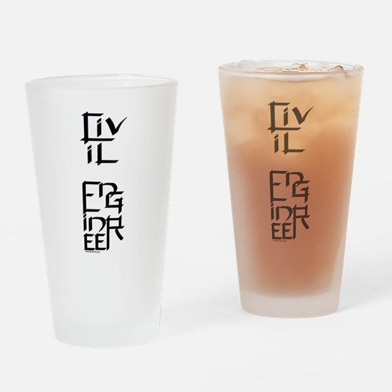 Civil Engineer Character Drinking Glass