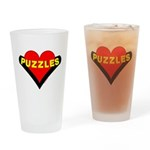 Puzzles Heart Drinking Glass