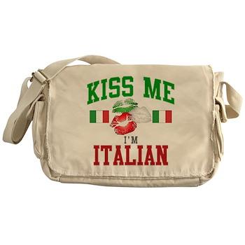 Kiss Me I'm Italian Canvas Messenger Bag