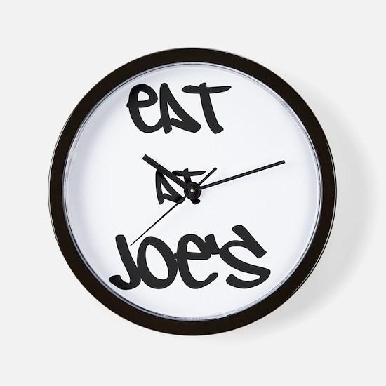 Eat at Joe's (Black Text) Wall Clock