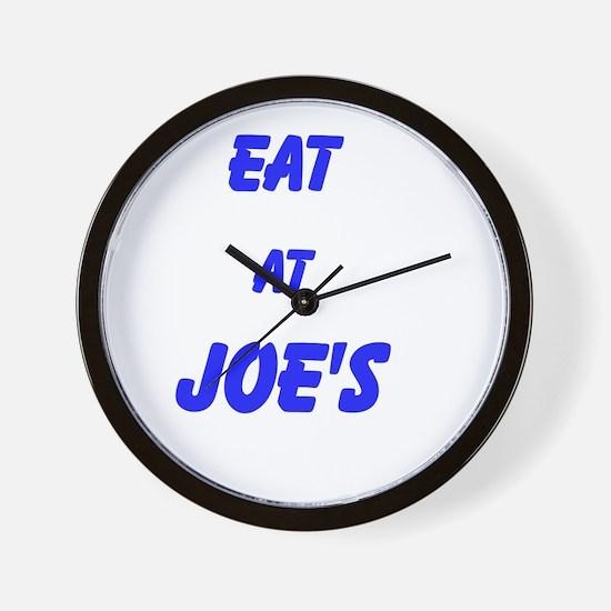 Eat at Joe's (Blue Text) Wall Clock