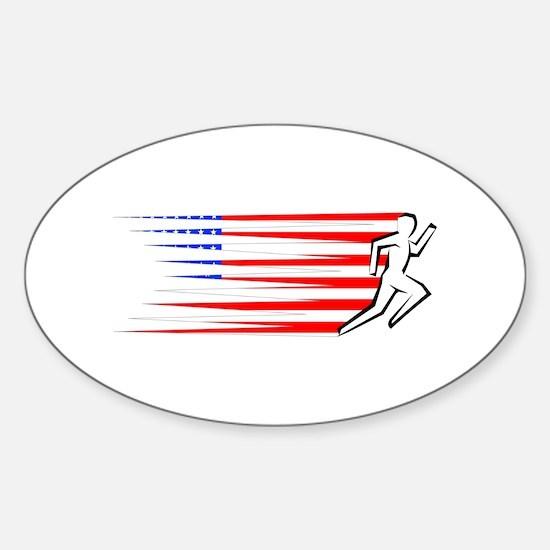 Athletics Runner - USA Sticker (Oval)