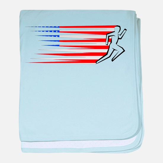 Athletics Runner - USA baby blanket