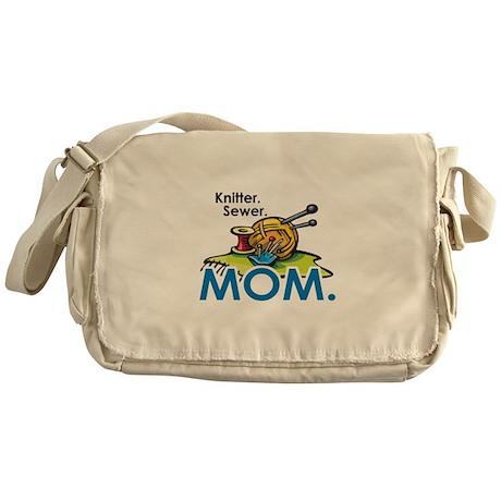Knitter. Sewer. MOM. Messenger Bag