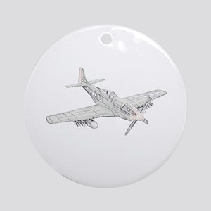 WW2 P-51 Mustang Air Plane Ornament (Round)