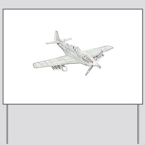 WW2 P-51 Mustang Air Plane Yard Sign