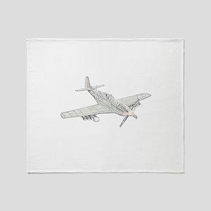 WW2 P-51 Mustang Air Plane Throw Blanket