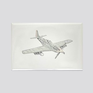 WW2 P-51 Mustang Air Plane Rectangle Magnet