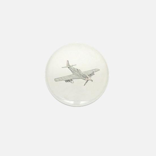 WW2 P-51 Mustang Air Plane Mini Button