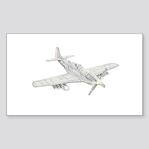 WW2 P-51 Mustang Air Plane Sticker (Rectangle)