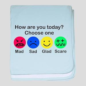 mad,sad,glad or scare baby blanket