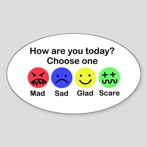 Mad,Sad,Glad & Scare Oval Sticker
