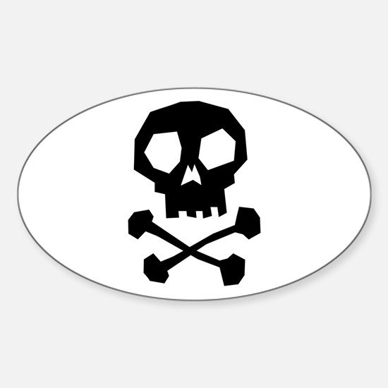 Skull Cross Bones Sticker (Oval)