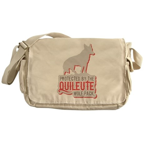 PROTECTED BY QUILEUTE WOLFPAC MESSENGER BAG