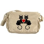 Black Cat Love Messenger Bag