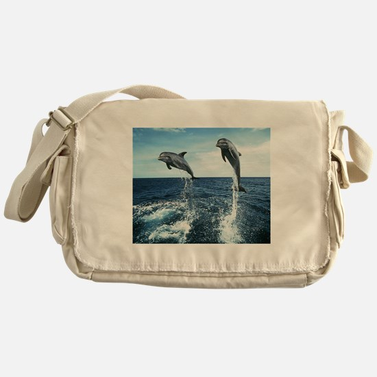 Dolphins In The Ocean Messenger Bag