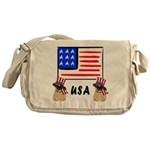 Patriotic USA Pug Dogs Messenger Bag