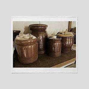 Antique Ceramic Jars Throw Blanket
