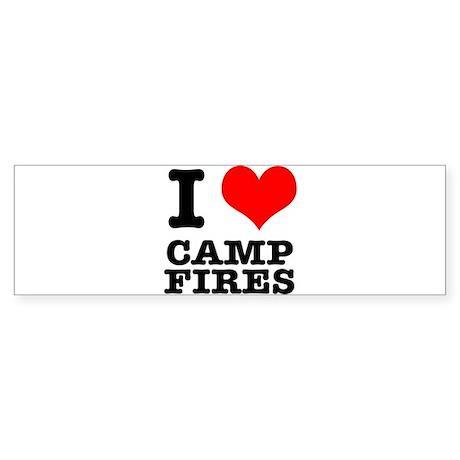 I Heart (Love) Camp Fires Sticker (Bumper)