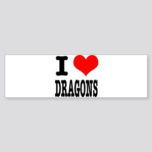 I Heart (Love) Dragons Sticker (Bumper)