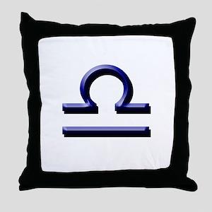 Libra Blue Throw Pillow