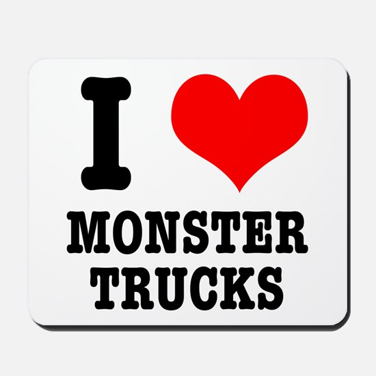I Heart (Love) Monster Trucks Mousepad