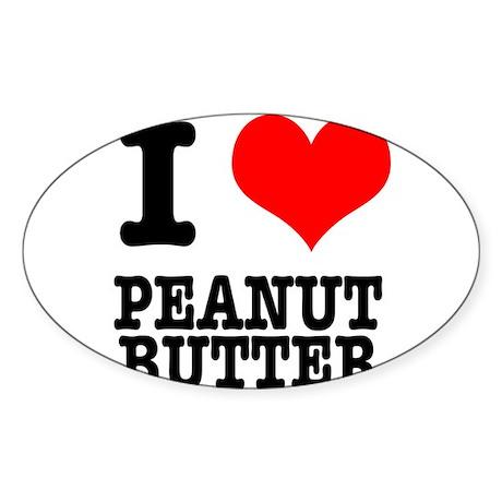 I Heart (Love) Peanut Butter Sticker (Oval 10 pk)