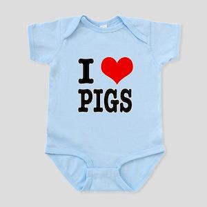 I Heart (Love) Pigs Infant Bodysuit