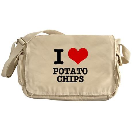 I Heart (Love) Potato Chips Messenger Bag