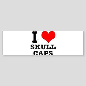 I Heart (Love) Skull Caps Sticker (Bumper)