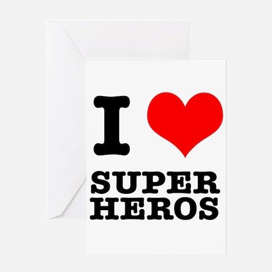 I Heart (Love) Super Heros Greeting Card