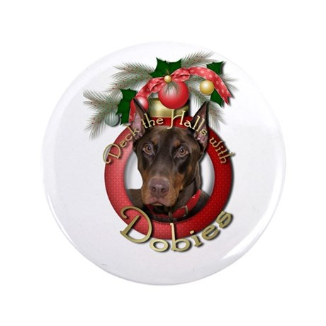 "Christmas - Deck the Halls - 3.5"" Button (100 pack"