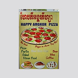 Happy Pizza Sign Rectangle Magnet