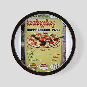 Happy Pizza Sign Wall Clock