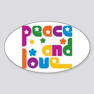 Peace and Love Art Oval Sticker