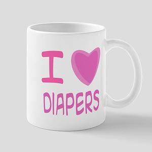 Pink I Heart (Love) Diaper Mug