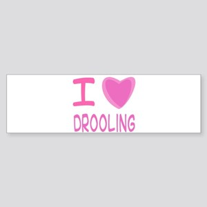 Pink I Heart (Love) Drooling Sticker (Bumper)
