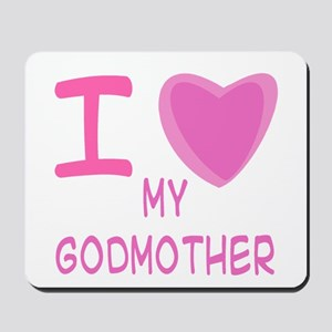 Pink I Heart (Love) Godmother Mousepad