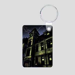 Haunted House Aluminum Photo Keychain