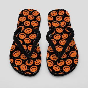 Halloween Pumpkin Jack-O-Lantern Flip Flops
