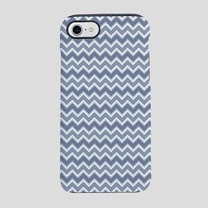 Shades of Blue Chevron Stripes iPhone 7 Tough Case