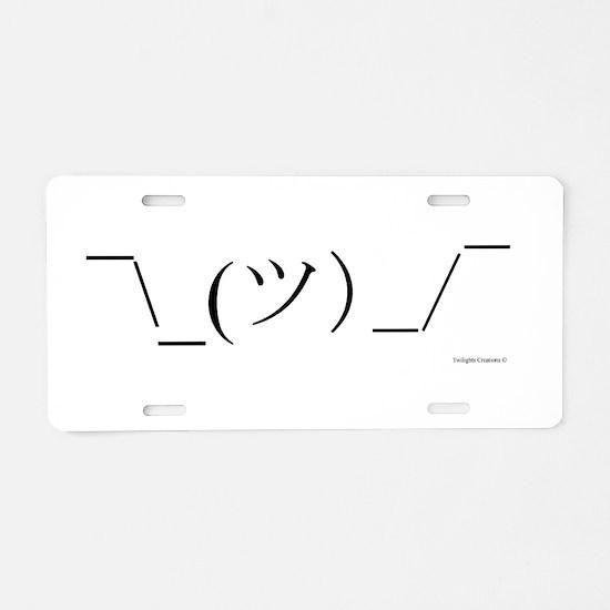 Shrug Emoticon Aluminum License Plate