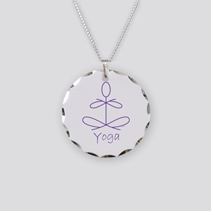 Yoga in Purple Necklace Circle Charm