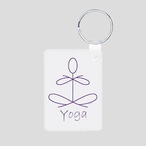 Yoga in Purple Aluminum Photo Keychain