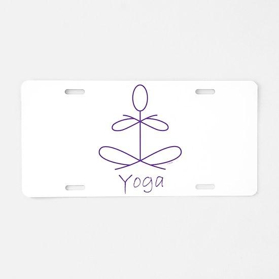 Yoga in Purple Aluminum License Plate