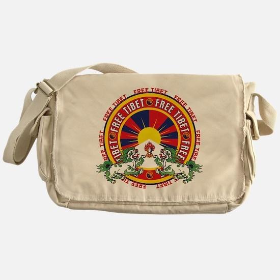 Free Tibet Snow Lions Messenger Bag