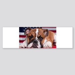 Patriotic Bulldog Sticker (Bumper)