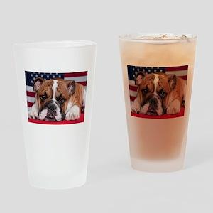 Patriotic Bulldog Drinking Glass