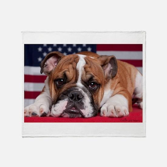 Patriotic Bulldog Throw Blanket
